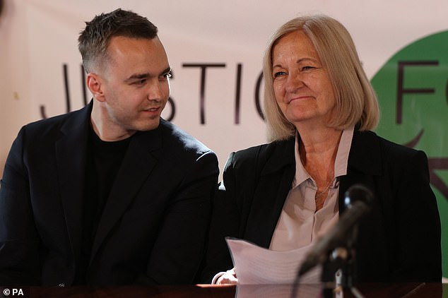 Sally Challen with her son David, during a press conference in central London after she left the Old Bailey where she was told that she will not face a retrial over the death of her husband Richard Challen