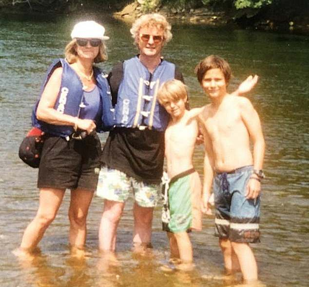 The couple on holiday in France with sons David and James in the 1990s