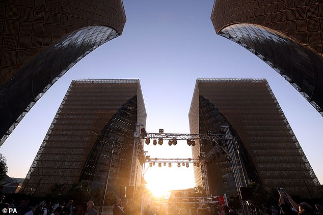 Buildings tower over the ring ahead of the public workout in Riyadh on Tuesday evening